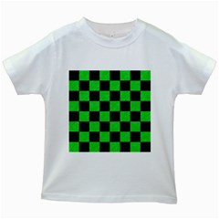 Square1 Black Marble & Green Colored Pencil Kids White T Shirts by trendistuff