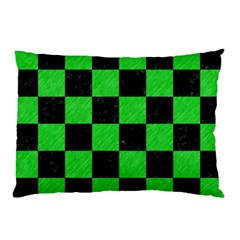 Square1 Black Marble & Green Colored Pencil Pillow Case by trendistuff