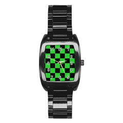 Square1 Black Marble & Green Colored Pencil Stainless Steel Barrel Watch by trendistuff
