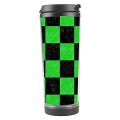 Square1 Black Marble & Green Colored Pencil Travel Tumbler by trendistuff