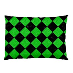 Square2 Black Marble & Green Colored Pencil Pillow Case (two Sides) by trendistuff