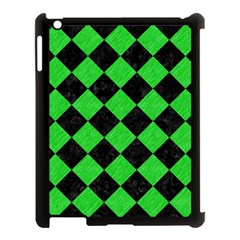 Square2 Black Marble & Green Colored Pencil Apple Ipad 3/4 Case (black) by trendistuff