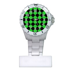 Square2 Black Marble & Green Colored Pencil Plastic Nurses Watch by trendistuff