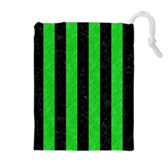 Stripes1 Black Marble & Green Colored Pencil Drawstring Pouches (extra Large) by trendistuff