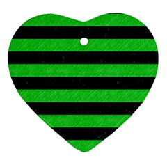 Stripes2 Black Marble & Green Colored Pencil Ornament (heart) by trendistuff