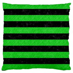 Stripes2 Black Marble & Green Colored Pencil Large Cushion Case (two Sides) by trendistuff
