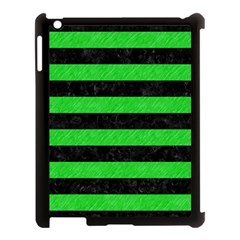 Stripes2 Black Marble & Green Colored Pencil Apple Ipad 3/4 Case (black) by trendistuff