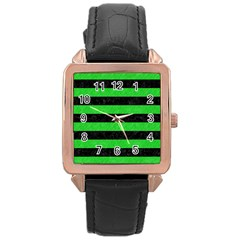 Stripes2 Black Marble & Green Colored Pencil Rose Gold Leather Watch  by trendistuff