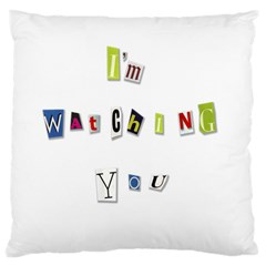 I Am Watching You Large Cushion Case (one Side) by Valentinaart