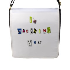 I Am Watching You Flap Messenger Bag (l)  by Valentinaart