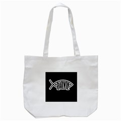 Darwin Fish Tote Bag (white) by Valentinaart