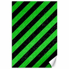 Stripes3 Black Marble & Green Colored Pencil Canvas 12  X 18   by trendistuff
