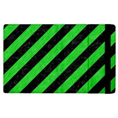 Stripes3 Black Marble & Green Colored Pencil Apple Ipad 2 Flip Case by trendistuff