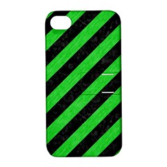 Stripes3 Black Marble & Green Colored Pencil Apple Iphone 4/4s Hardshell Case With Stand by trendistuff