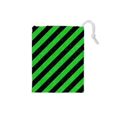 Stripes3 Black Marble & Green Colored Pencil Drawstring Pouches (small)  by trendistuff
