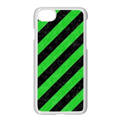 Stripes3 Black Marble & Green Colored Pencil Apple Iphone 7 Seamless Case (white)