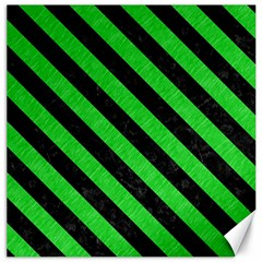 Stripes3 Black Marble & Green Colored Pencil (r) Canvas 16  X 16