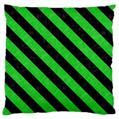 Stripes3 Black Marble & Green Colored Pencil (r) Large Cushion Case (one Side) by trendistuff