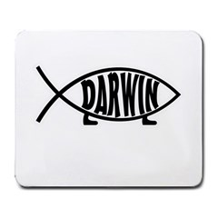 Darwin Fish Large Mousepads by Valentinaart
