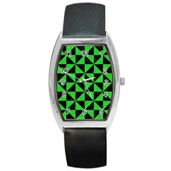 Triangle1 Black Marble & Green Colored Pencil Barrel Style Metal Watch by trendistuff