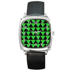 Triangle2 Black Marble & Green Colored Pencil Square Metal Watch by trendistuff