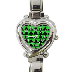 Triangle2 Black Marble & Green Colored Pencil Heart Italian Charm Watch