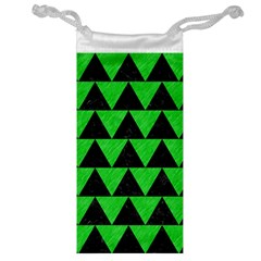Triangle2 Black Marble & Green Colored Pencil Jewelry Bag