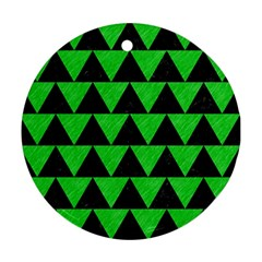 Triangle2 Black Marble & Green Colored Pencil Round Ornament (two Sides) by trendistuff