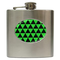 Triangle3 Black Marble & Green Colored Pencil Hip Flask (6 Oz) by trendistuff