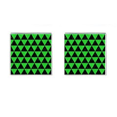 Triangle3 Black Marble & Green Colored Pencil Cufflinks (square) by trendistuff