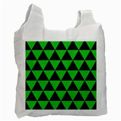 Triangle3 Black Marble & Green Colored Pencil Recycle Bag (one Side) by trendistuff