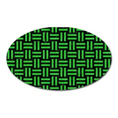 Woven1 Black Marble & Green Colored Pencil Oval Magnet by trendistuff