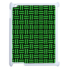 Woven1 Black Marble & Green Colored Pencil Apple Ipad 2 Case (white) by trendistuff