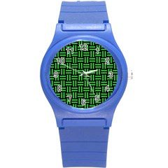 Woven1 Black Marble & Green Colored Pencil Round Plastic Sport Watch (s) by trendistuff