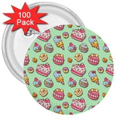 Sweet Pattern 3  Buttons (100 Pack)  by Valentinaart