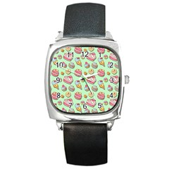 Sweet Pattern Square Metal Watch by Valentinaart