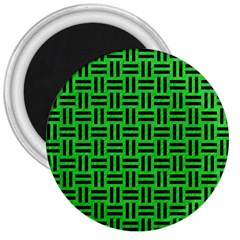 Woven1 Black Marble & Green Colored Pencil (r) 3  Magnets by trendistuff