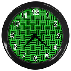 Woven1 Black Marble & Green Colored Pencil (r) Wall Clocks (black) by trendistuff