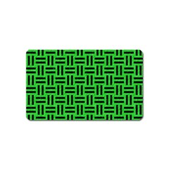 Woven1 Black Marble & Green Colored Pencil (r) Magnet (name Card) by trendistuff
