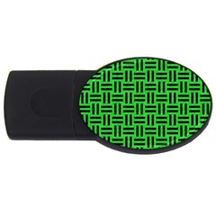Woven1 Black Marble & Green Colored Pencil (r) Usb Flash Drive Oval (2 Gb) by trendistuff
