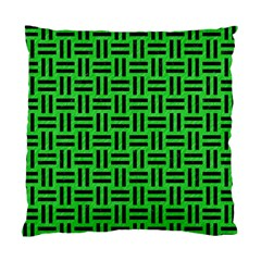 Woven1 Black Marble & Green Colored Pencil (r) Standard Cushion Case (one Side) by trendistuff