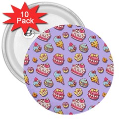 Sweet Pattern 3  Buttons (10 Pack)  by Valentinaart
