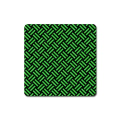 Woven2 Black Marble & Green Colored Pencil Square Magnet by trendistuff