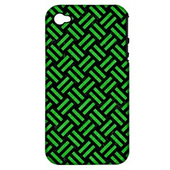 Woven2 Black Marble & Green Colored Pencil Apple Iphone 4/4s Hardshell Case (pc+silicone) by trendistuff