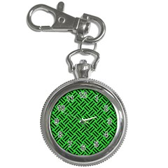 Woven2 Black Marble & Green Colored Pencil (r) Key Chain Watches by trendistuff