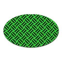 Woven2 Black Marble & Green Colored Pencil (r) Oval Magnet by trendistuff