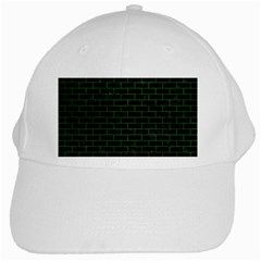 Brick1 Black Marble & Green Leather White Cap by trendistuff
