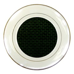 Brick1 Black Marble & Green Leather Porcelain Plates by trendistuff