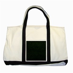 Brick1 Black Marble & Green Leather Two Tone Tote Bag by trendistuff