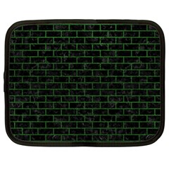 Brick1 Black Marble & Green Leather Netbook Case (xl)  by trendistuff